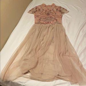 Cute nude and pink tea length dress